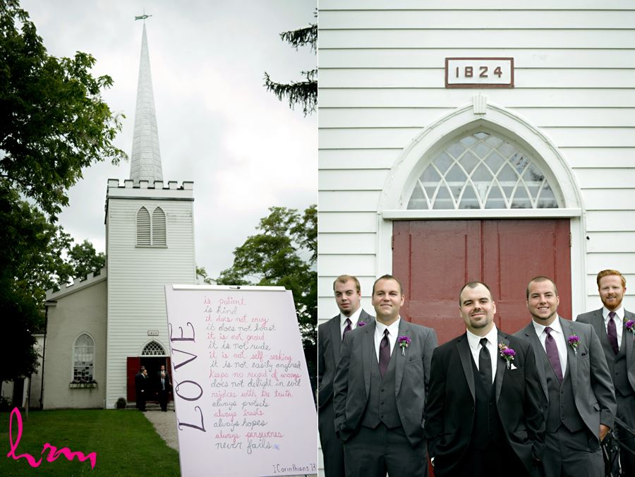 Will and groomsmen outside The Old St. Thomas Church St. Thomas ON Wedding Photography