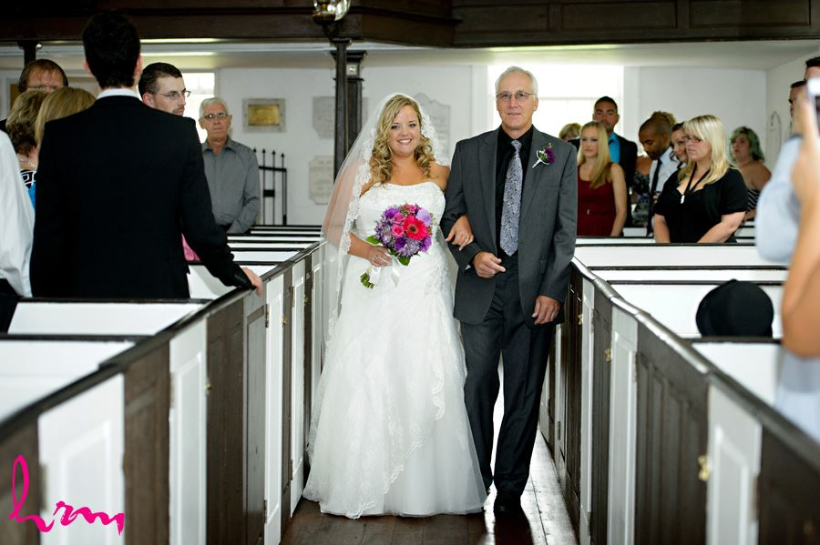 Mallory walking down aisle with father at Old St. Thomas Church St. Thomas ON Wedding Photography