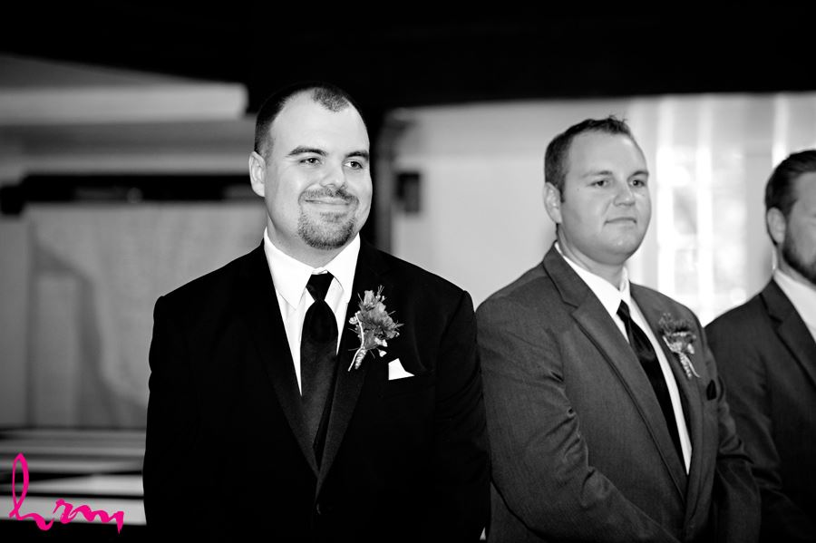 The first look in black and white The Old St. Thomas Church St. Thomas ON Wedding Photography