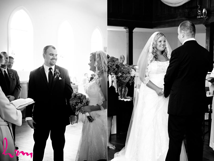 Black and white photo of Mallory and Will at the altar St. Thomas ON Wedding Photography