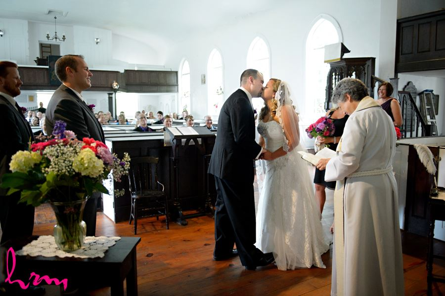 The kiss at The Old St. Thomas Church St. Thomas ON Wedding Photography