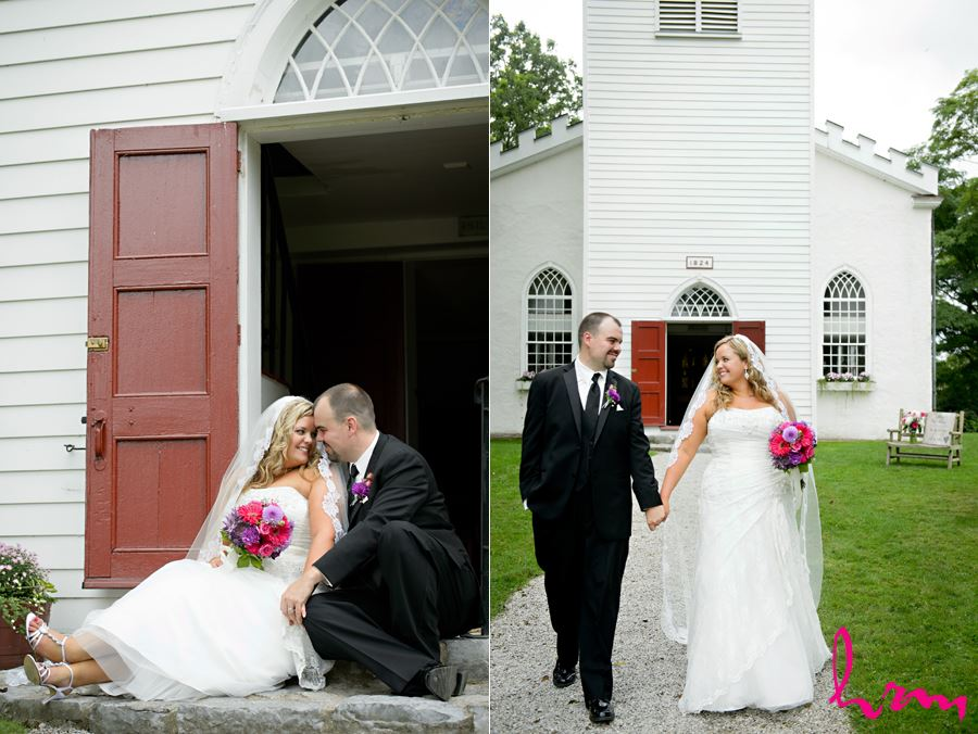 Mallory + Will outside The Old St. Thomas Church St. Thomas ON Wedding Photography