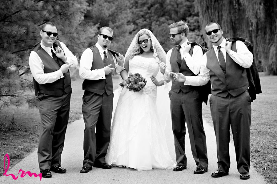 Mallory and groomsmen outside St. Thomas ON Wedding Photography
