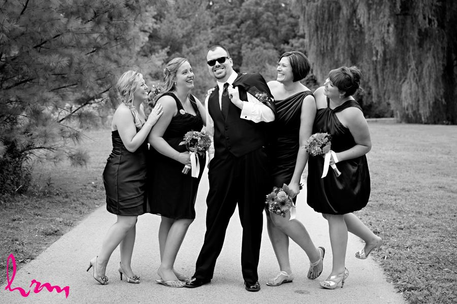 Will and bridesmaids outside St. Thomas ON Wedding Photography