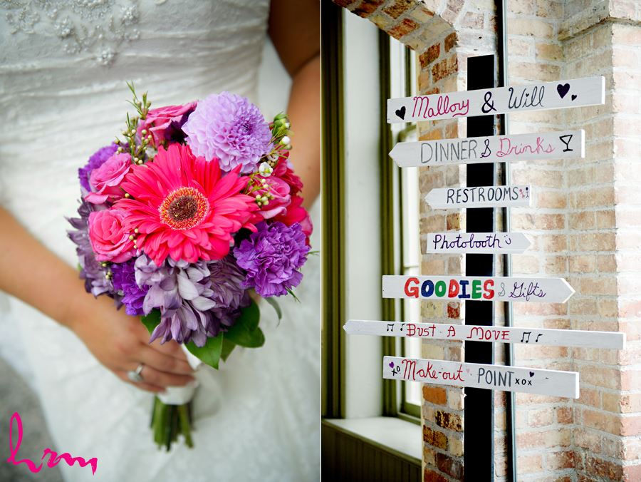 Signs to Mallory and Will's wedding at CASO Railway Station St. Thomas ON Wedding Photography