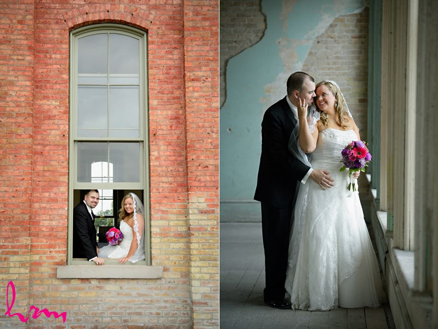 Mallory and Will in CASO Railway Station St. Thomas ON Wedding Photography