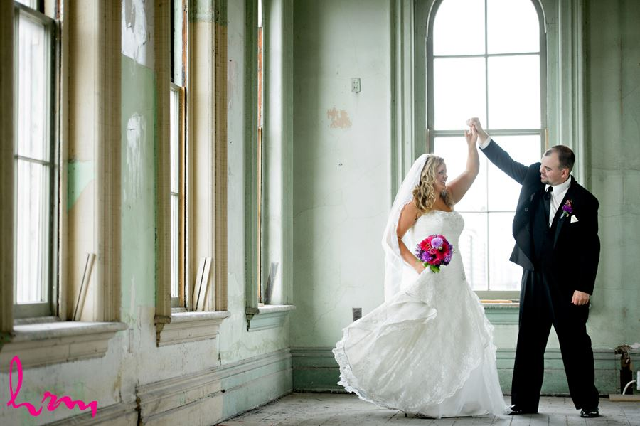 Mallory and Will dance in CASO Railway Station St. Thomas ON Wedding Photography