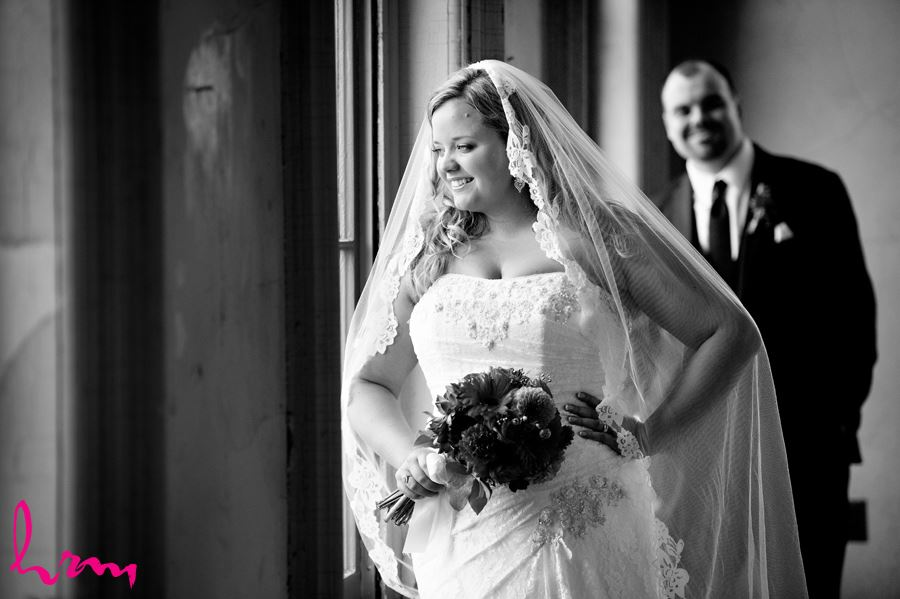 Black and white photo of Mallory and Will in CASO Railway Station St. Thomas ON Wedding Photography