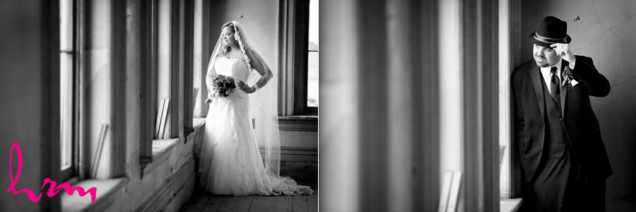 Black and white photos of Mallory and Will in CASO Railway Station St. Thomas ON Wedding Photography
