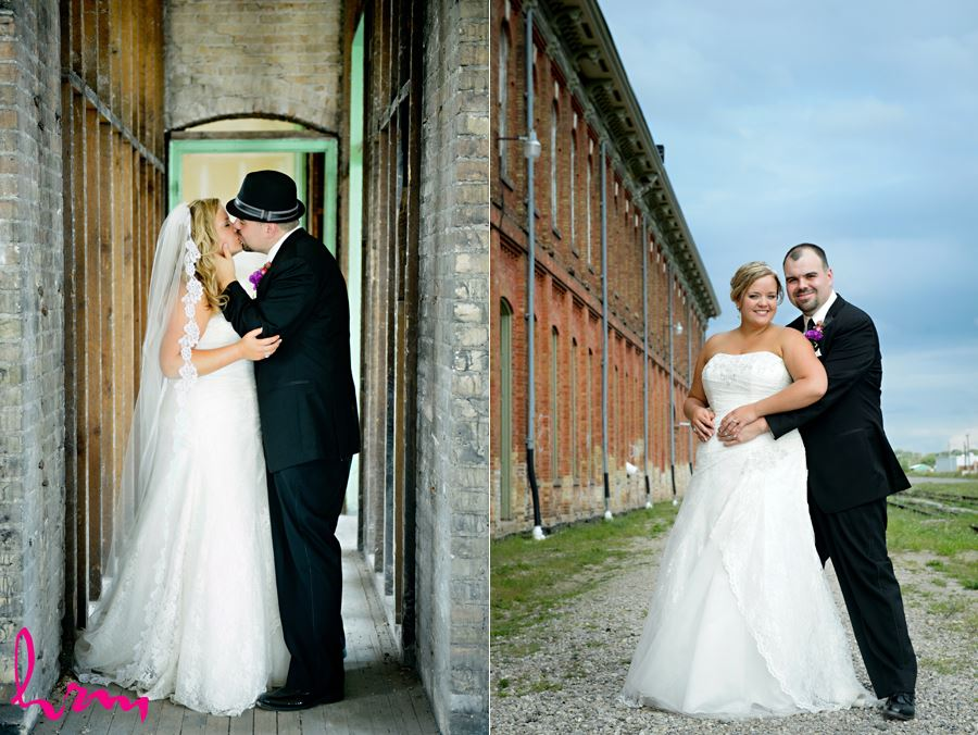 Mallory + Will kiss at CASO Railway Station St. Thomas ON Wedding Photography