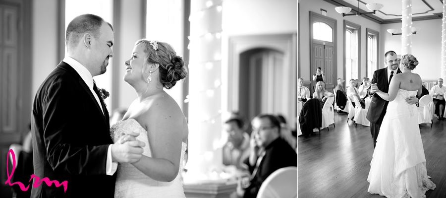 Black and white photo of first dance CASO Railway Station St. Thomas ON Wedding Photography