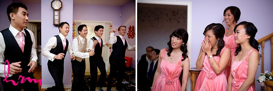 Michael and groomsmen dance before wedding Toronto ON Wedding Photography