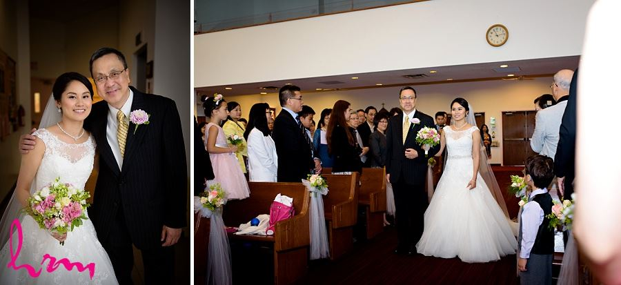 Natalie walking down aisle with father Chinese Martyrs Catholic Church Toronto ON Wedding Photography