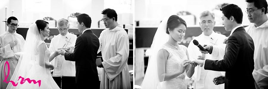 Exchanging rings at Chinese Martyrs Catholic Church Toronto ON Wedding Photography