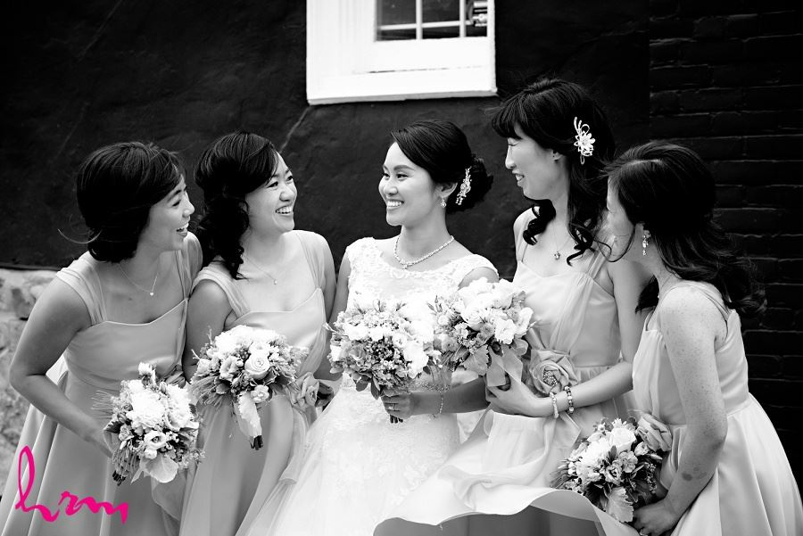 Natalie and bridesmaids outside Chinese Martyrs Catholic Church Toronto ON Wedding Photography