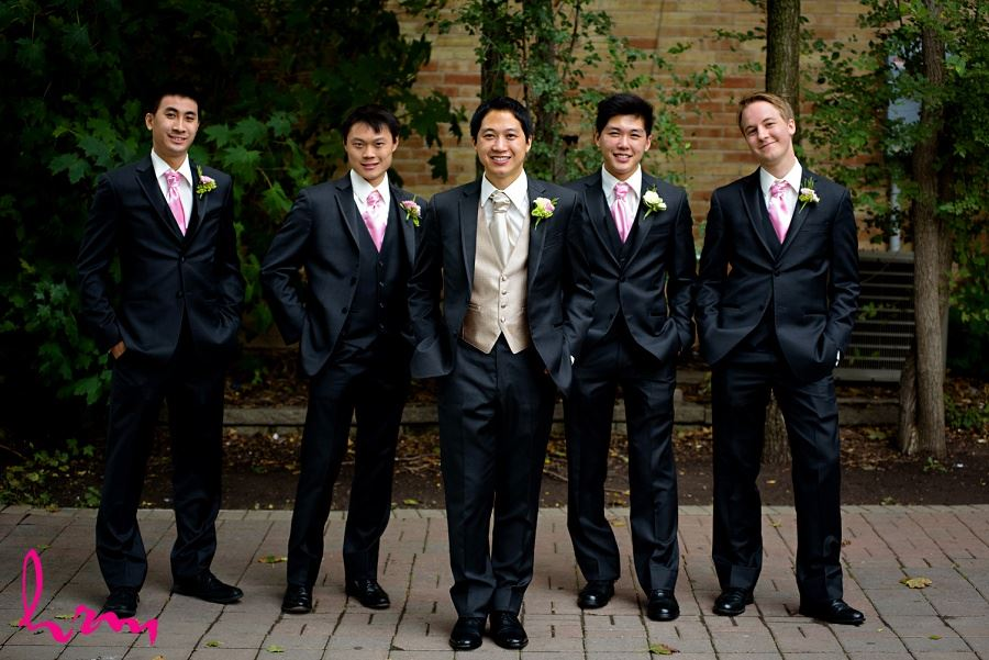 Michael and groomsmen outside Chinese Martyrs Catholic Church Toronto ON Wedding Photography