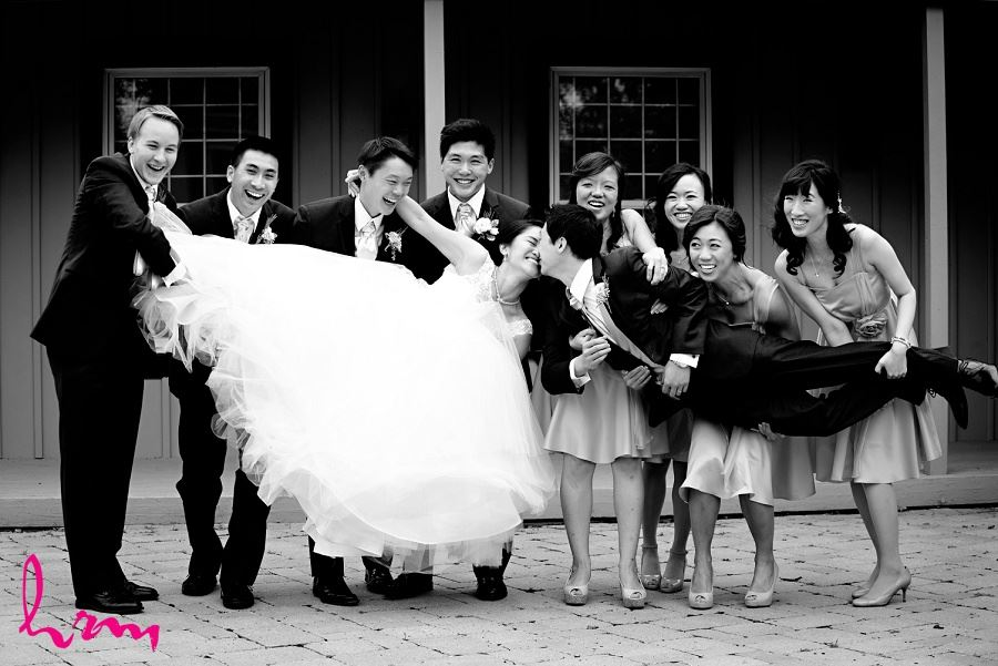Bridal party holding bride and groom in Unionville Toronto ON Wedding Photography