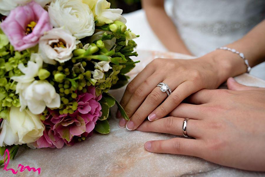 Natalie + Michael rings Graydon Hall Manor Toronto ON Wedding Photography