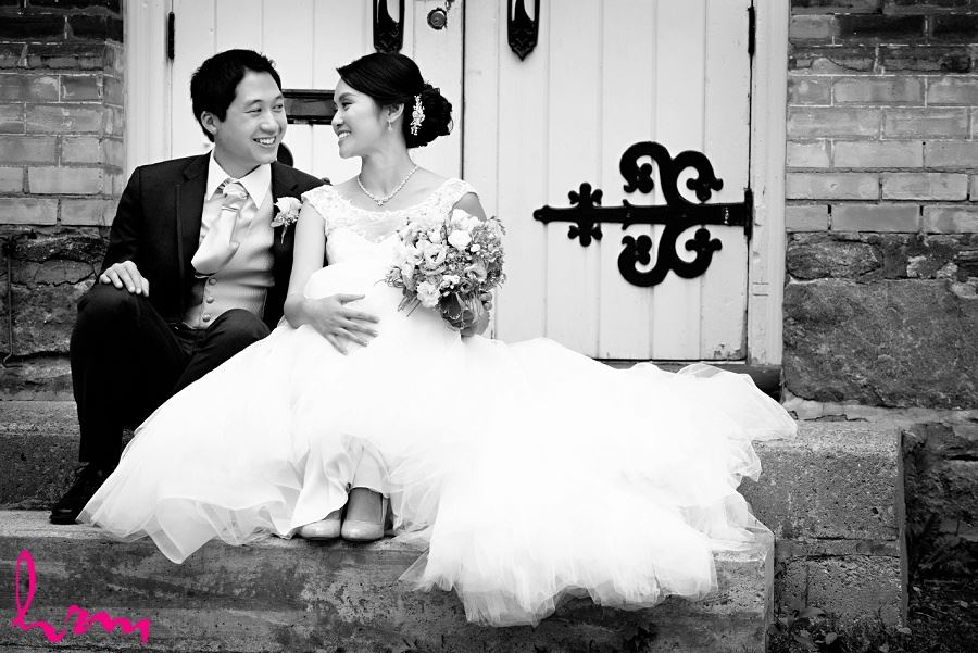 Natalie + Michael outside Graydon Hall Manor Toronto ON Wedding Photography