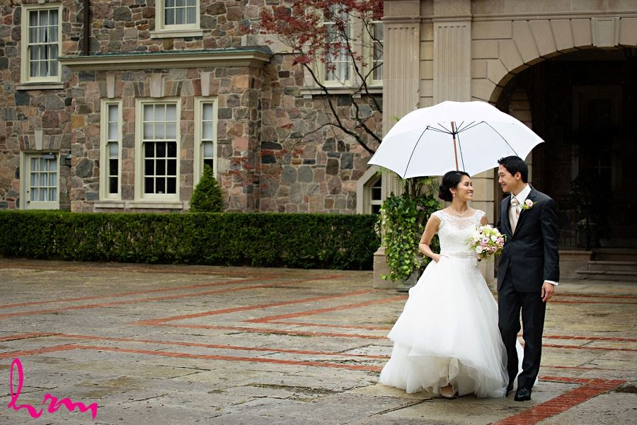 Natalie + Michael outside Graydon Hall Manor Toronto ON Wedding HRM Photography