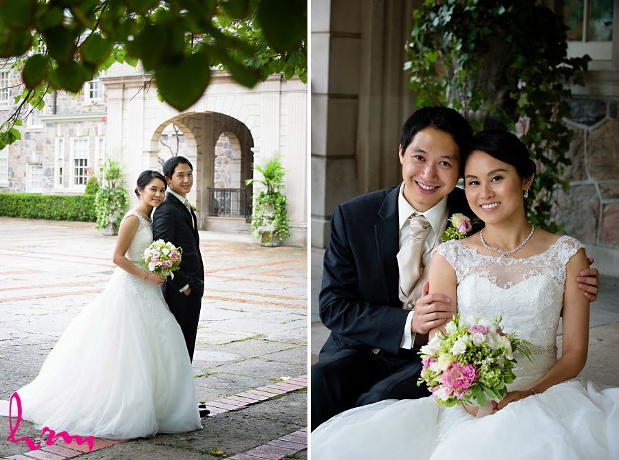 Natalie + Michael in courtyard at  Graydon Hall Manor Toronto ON Wedding Photography