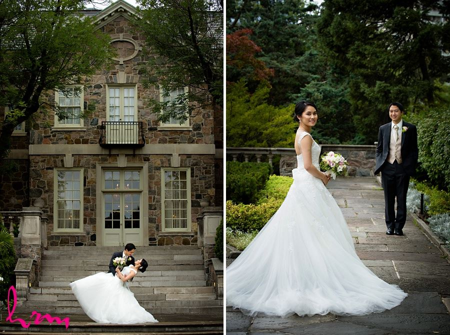 Natalie and Michael by stone buildings at  Graydon Hall Manor Toronto ON Wedding Photography