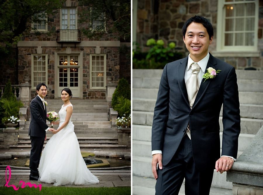 Natalie and Michael by stone buildings at Graydon Hall Manor Toronto ON Wedding HRM Photography