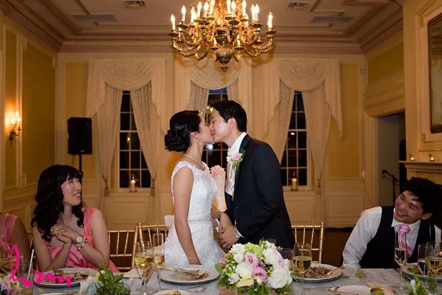 Natalie + Michael kiss at Graydon Hall Manor Toronto ON Wedding Photography