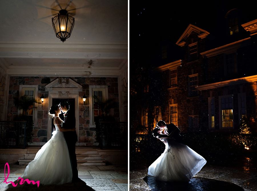 Natalie and Michael in moonlight at Graydon Hall Manor Toronto ON Wedding Photography