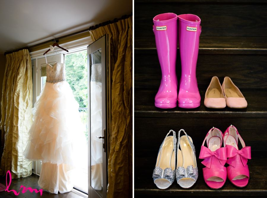 Hot pink rubber boots galloshes for wedding day