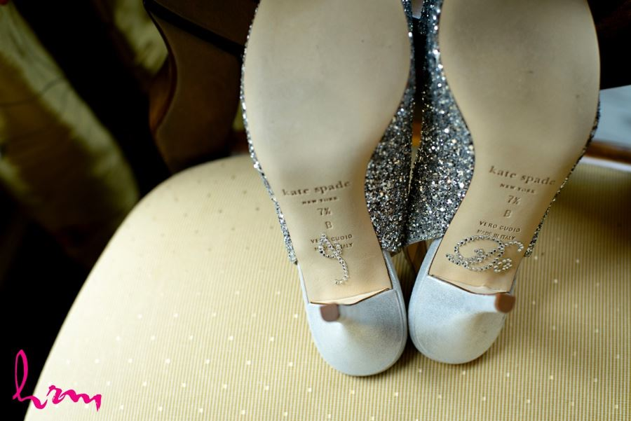 Kate Spade wedding day bridal shoes with silver sequins