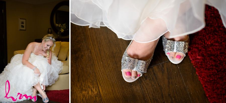Hot pink and silver pedicure on bride for wedding day