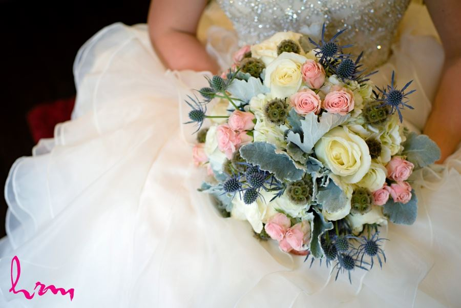 Ivory pink green and blue wedding bridal bouquet
