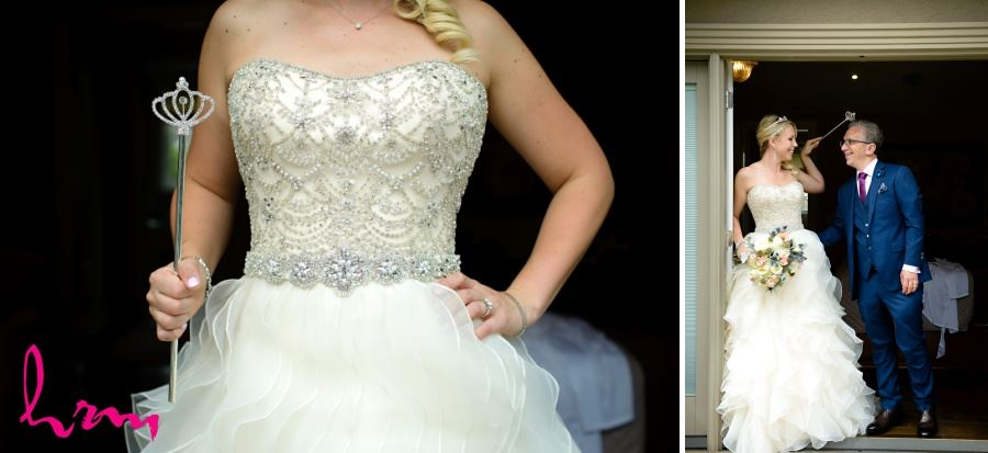 Wedding dress with ornate embellishment on bodice and chiffon tiers