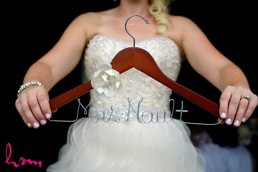 Personalized hanger for bride on wedding day