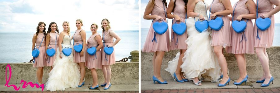 Bridal party bridesmaids in pink dusty rose dresses and blue shoes and heart purses