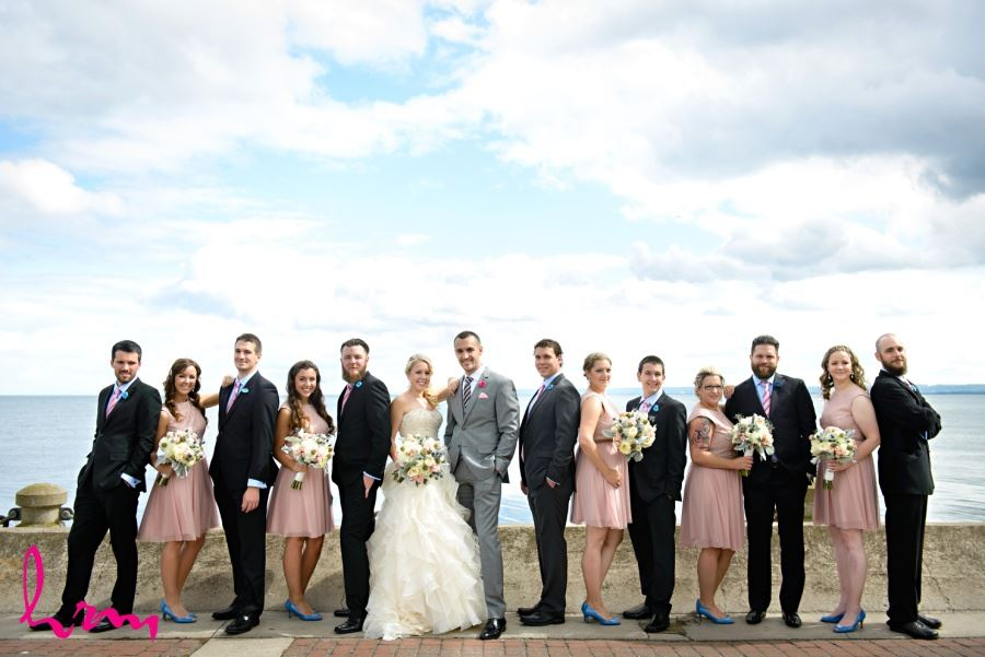 Wedding party in front of Burlington Ontario waterfront