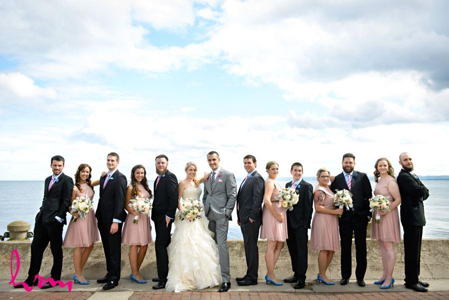 Wedding party in front of Burlington Ontario waterfront