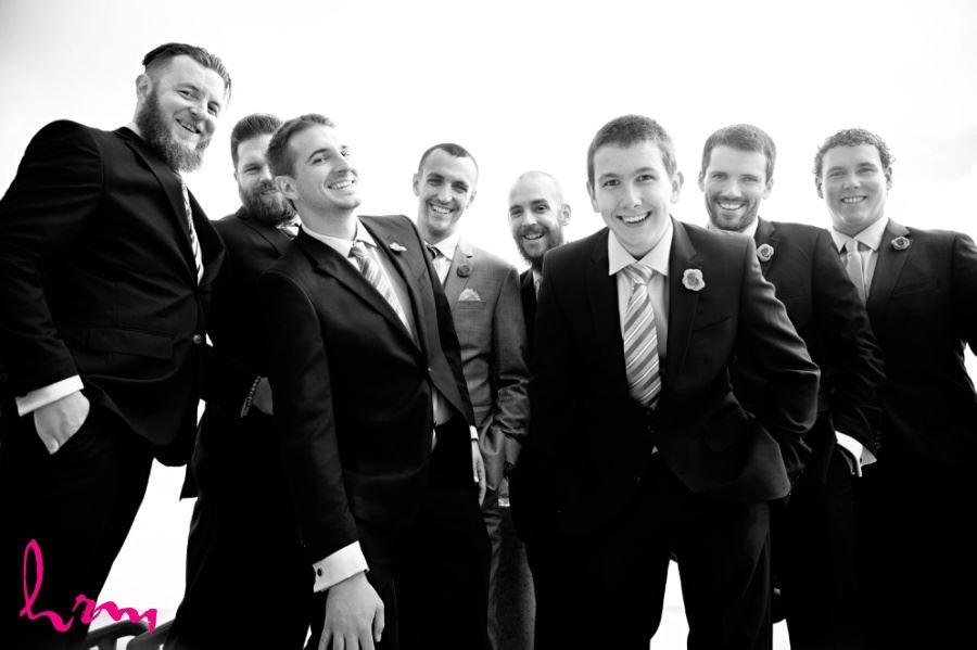 Groomsmen on wedding day - black and white image