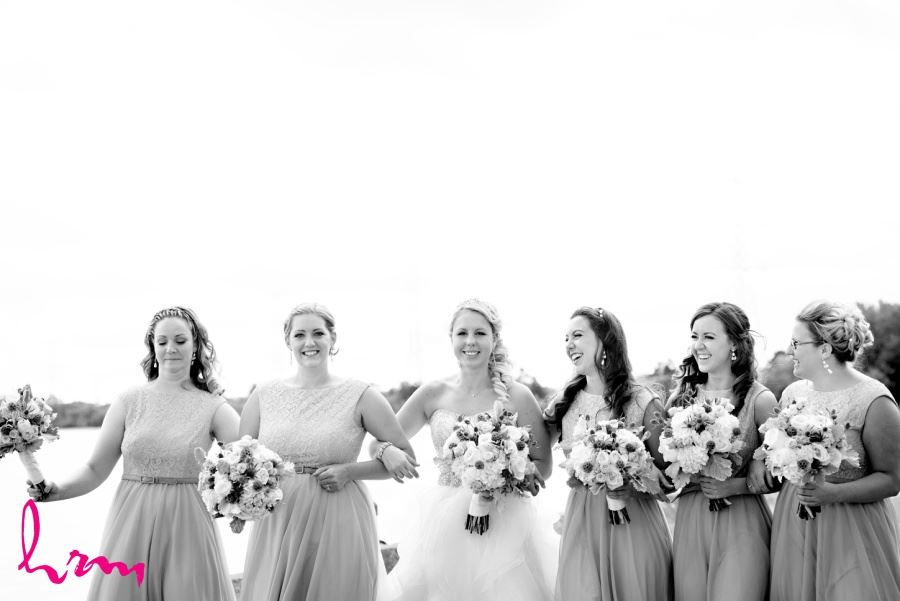 Bridesmaids on wedding day in black and white image