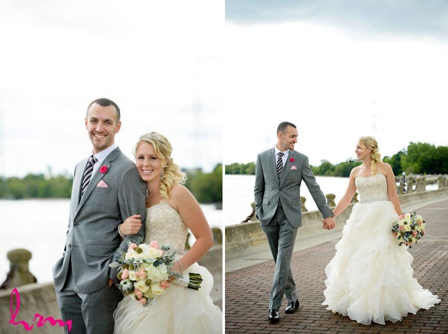 Bride and groom walking along Burlington Ontario waterfront