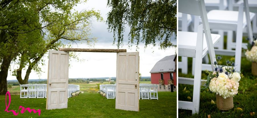 Outdoor ceremony decor ideas - old doors and burlap covered flower vases