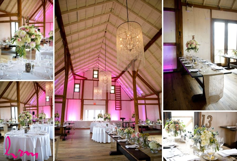 Barn reception decor ideas - pink lighting chandeliers and burlap table runners