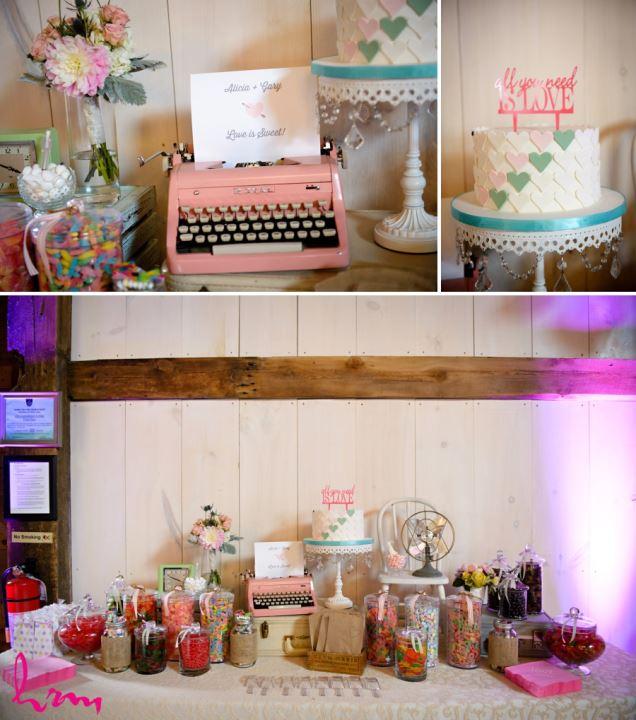 Vintage pink typewriter wedding decor ideas