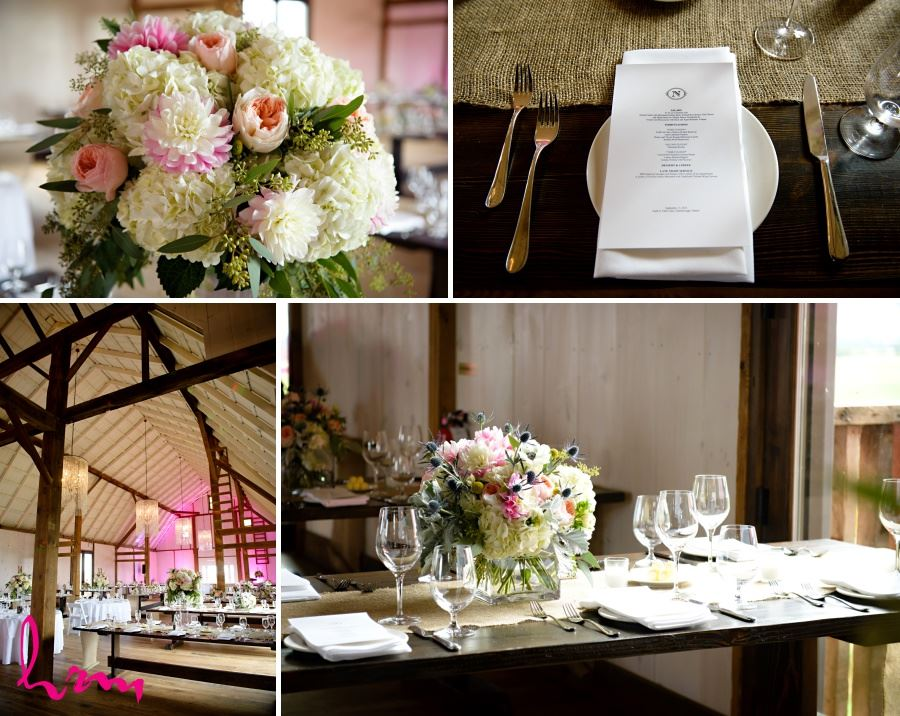 Pretty barn wedding decor with burlap table runners and floral centrepieces