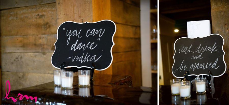Chalkboard signs wedding reception decor