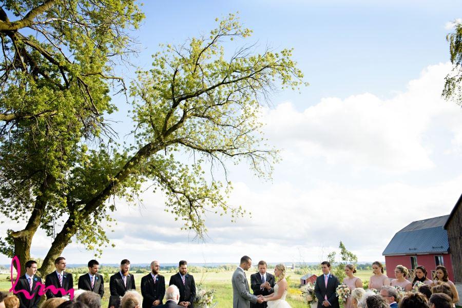 Outdoor farm wedding ceremony Waterdown Ontario photography