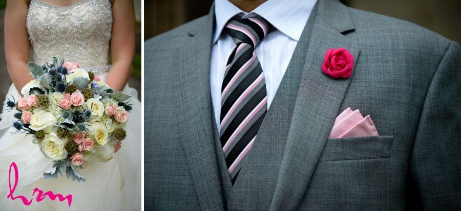 Simple diy fabric flower boutineers for groom
