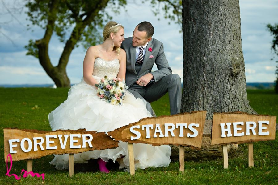 Forever Starts Here wooden wedding day sign