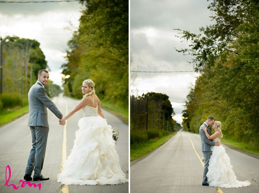 Bride and groom on old country road in Waterdown Ontario wedding photography